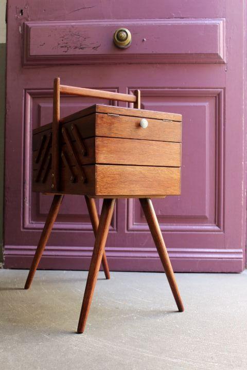 travailleuse pieds compas des ann es 50 60 vintage by fabichka. Black Bedroom Furniture Sets. Home Design Ideas