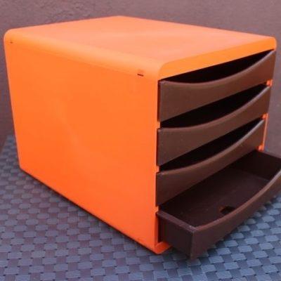 Bloc 4 tiroirs plastique orange 1970