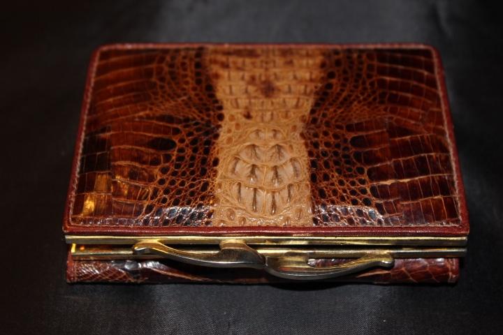 porte monnaie porte documents en crocodile