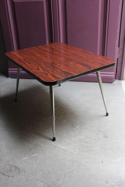 Table basse en formica avec pieds compas chrom s fusel s vintage by fabichka - Table basse pieds compas ...