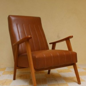 fauteuil skaï design scandinave sixties
