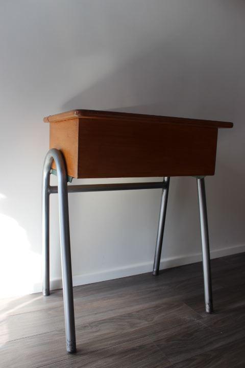 ancien bureau d 39 colier ann es 50 en m tal et bois. Black Bedroom Furniture Sets. Home Design Ideas