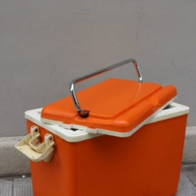 Glacière camping orange vintage 1970