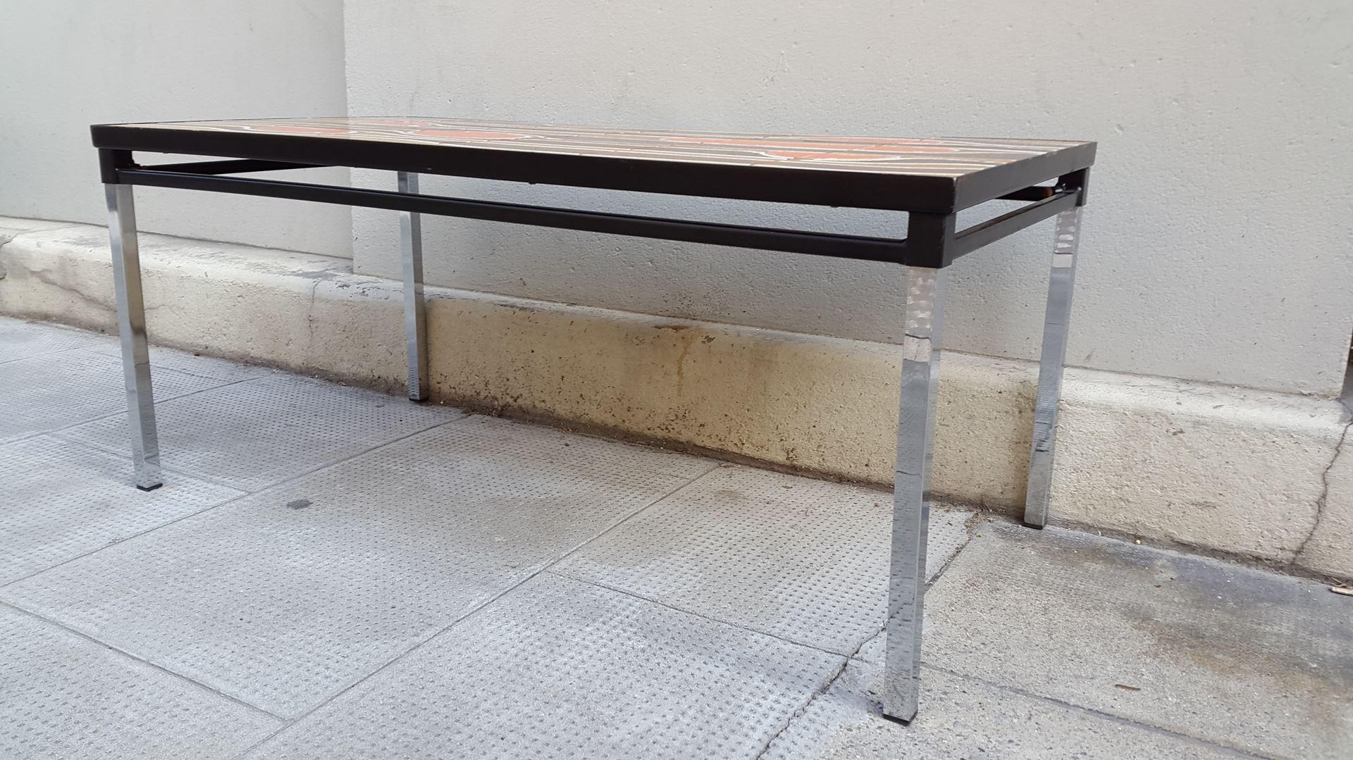 table basse vallauris r tro vintage orange marron et ocre. Black Bedroom Furniture Sets. Home Design Ideas