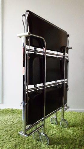 desserte pliante roulettes formica noir vintage 1970. Black Bedroom Furniture Sets. Home Design Ideas