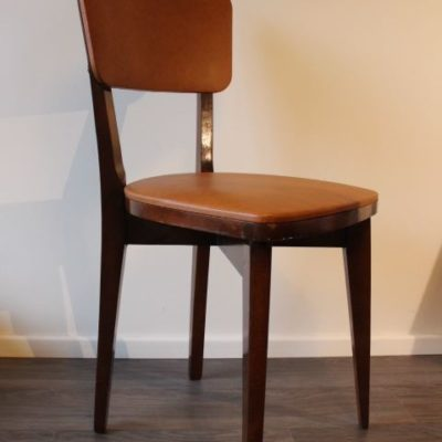 Chaise design scandinave bois et skai
