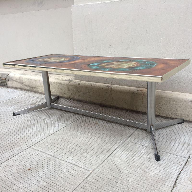 Ancienne table basse céramique Vallauris vintage