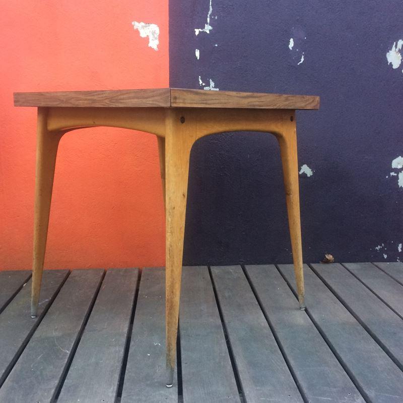 authentique table bistrot vintage plateau formica et pi tement bois. Black Bedroom Furniture Sets. Home Design Ideas