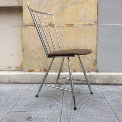 Chaise vintage structure métal chromé