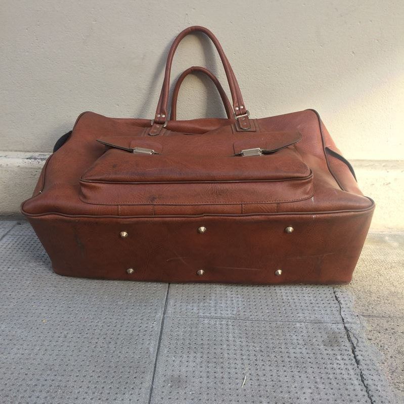 Sac voyage vintage en simili cuir