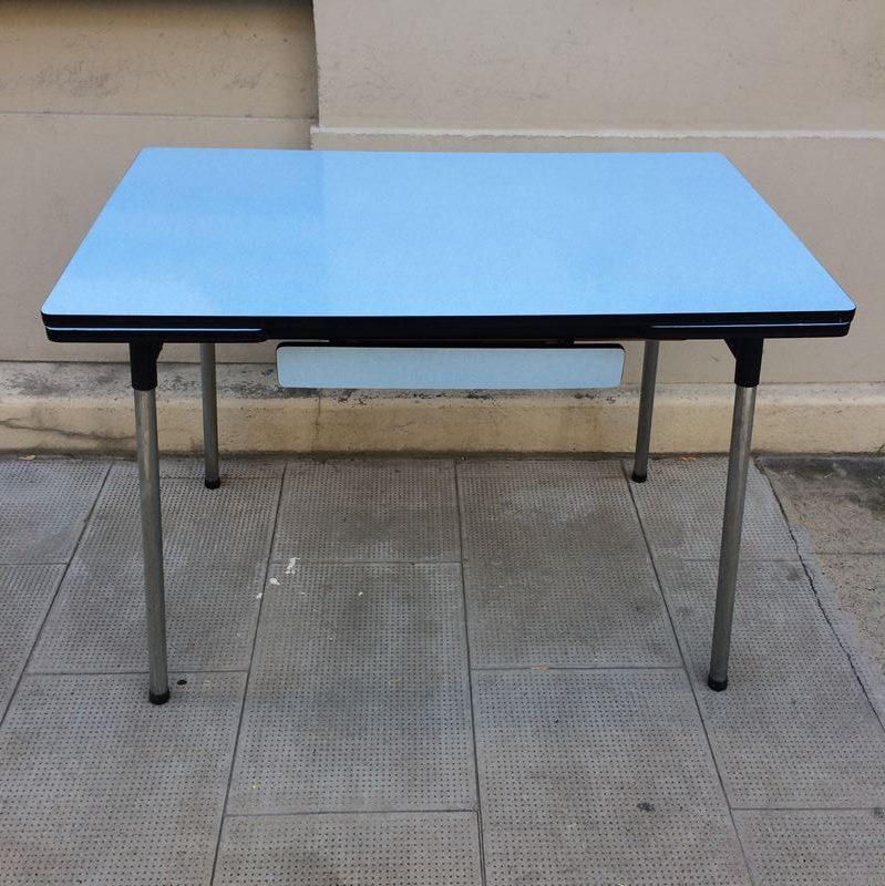 Table de travail formica bleu 2 rallonges pieds m tal chrom for Cuisine formica bleu