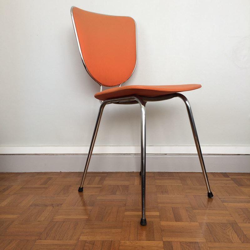 chaise vintage orange structure m tal chrom des ann es 70. Black Bedroom Furniture Sets. Home Design Ideas
