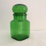 Bocal en verre vert vintage