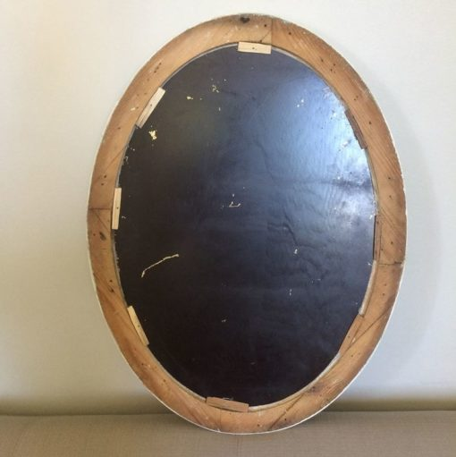 Miroir biseauté ovale blanc vintage