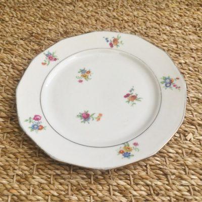 Assiette à dessert porcelaine motif fleurs