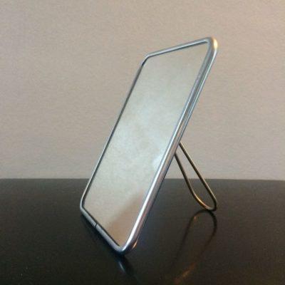 Miroir barbier cerclage métal chromé