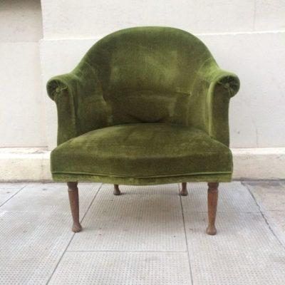 Fauteuil crapaud velours vert vintage