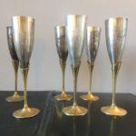 Flûtes à champagne en métal vintage