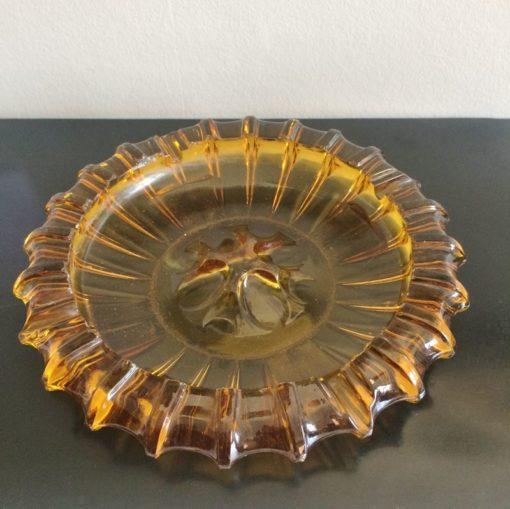 Grand cendrier vintage en verre épais ambré
