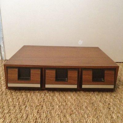 Boîte rangement tiroirs K7 audio vintage