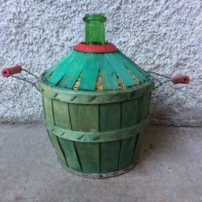 Dame Jeanne verte vintage dans panier bois d'origine