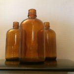 Flacons apothicaire verre ambré vintage