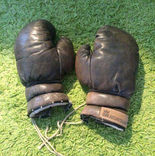 Ancien gants boxe en cuir Montana