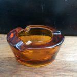 Cendrier vintage verre épais ambré