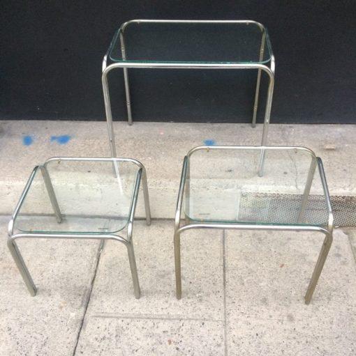 Tables gigognes métal et verre vintage