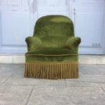 Fauteuil crapaud vintage vert