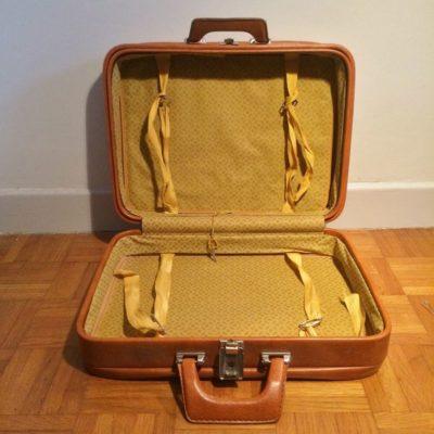 Ancienne valise simili cuir marron