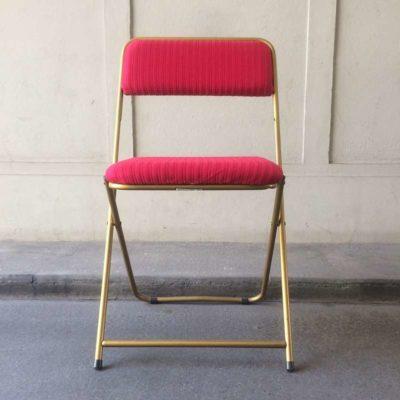 Chaise pliante velours rouge vintage