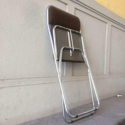 Chaise pliante métal chromé vintage