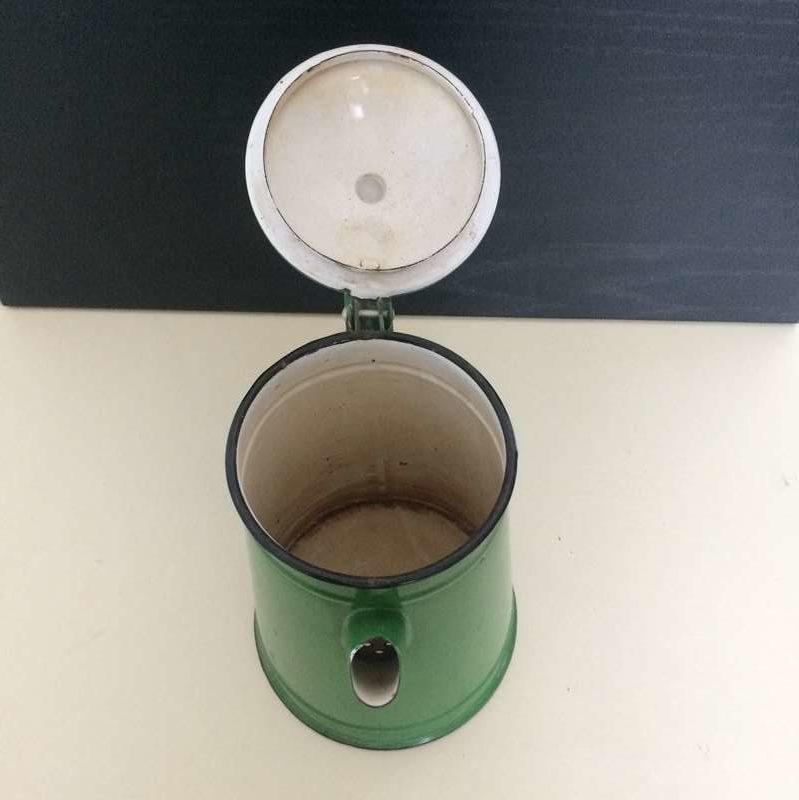 cafetière vintage métal émaillée vert