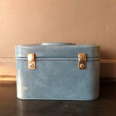 Malette skai bleu vintage