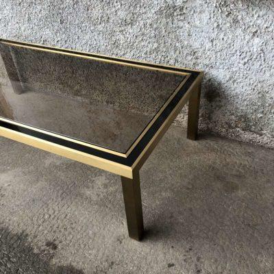 table basse plateau verre fumé 1970