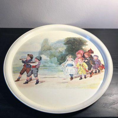 Plateau Métal Massilly vintage jeux d'enfants