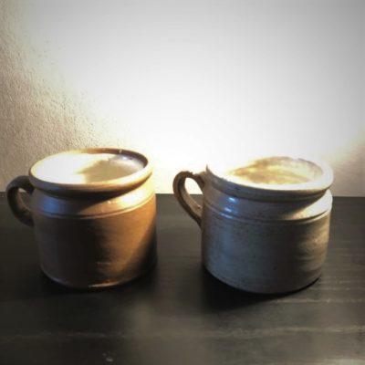 Pots à rillettes en grès émaillé vintage