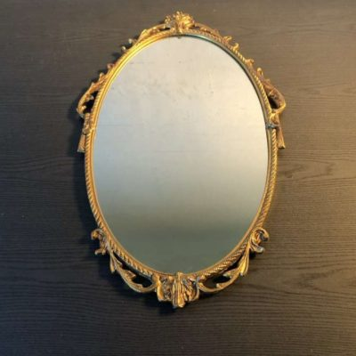 miroir médaillon cadre doré