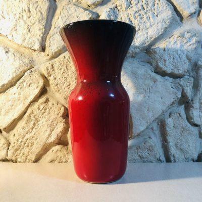 Vase grès émaillé rouge vintage